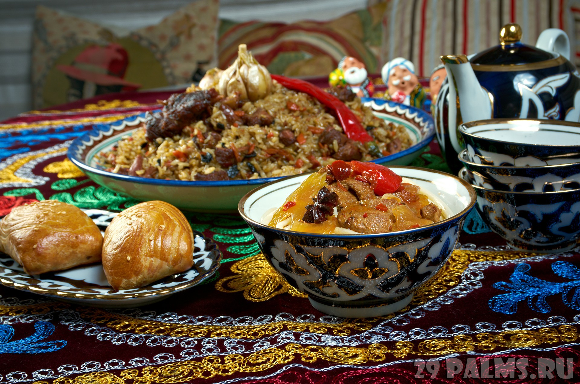 food set  Central Asian cuisine - plov, lagman,sherbet  and samsa