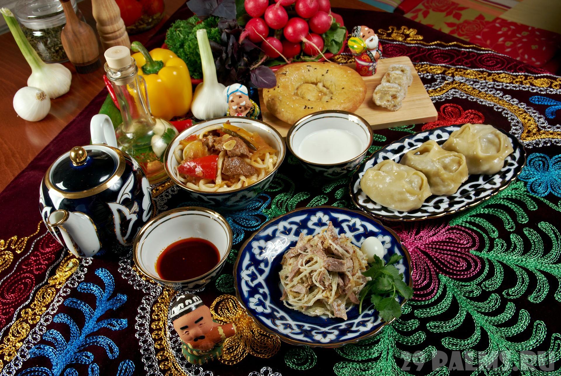 food set  Central Asian cuisine - plov, lagman,sherbet ,manti